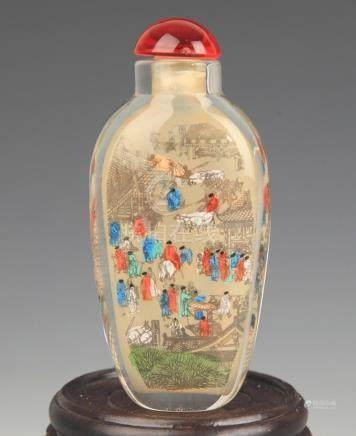 A STORY PAINTED GLASS SNUFF BOTTLE