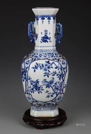 BLUE AND WHITE FLOWER AND BIRD PAINTED VASE