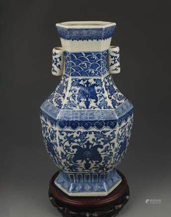 BLUE AND WHITE FLOWER PATTERN SIX SIDED DOUBLE EAR VASE