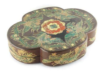 Property of a lady - a late 19th / early 20th century lacquer quatrefoil box & cover, decorated with