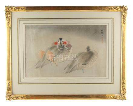 Property of a lady - Hashimoto Koei (1892-1956) - MANDARIN DUCKS IN SNOW - woodblock print, circa