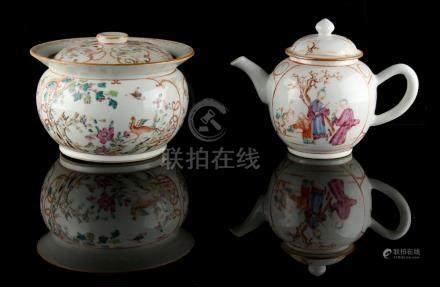 Property of a lady - a Chinese famille rose teapot, Qianlong period (1736-1795), painted with two