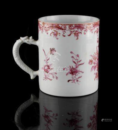 Property of a lady - a Chinese famille rose mug or tankard, Qianlong period (1736-1795), with dragon