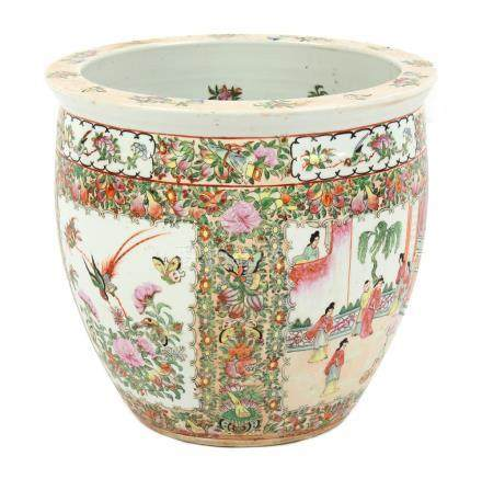 Property of a lady - a Chinese Canton famille rose fish bowl planter, late 20th century, 14.5ins. (