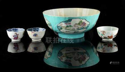 Property of a gentleman - a Chinese famille rose bowl, 18th century, with painted landscape panels