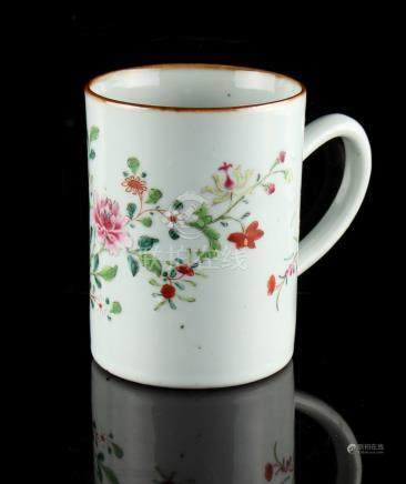 Property of a deceased estate - an 18th century Chinese famille rose mug or tankard, painted with