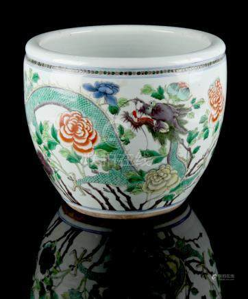 Property of a lady - a 19th century Chinese famille verte dragon & phoenix planter, restored, 10ins.