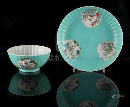 Property of a lady - a Chinese famille rose shallow dish and matching bowl, 18th century, of