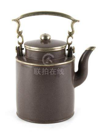 An early 20th century Chinese Yixing teapot, with white metal mounts, impressed mark to base, 7.