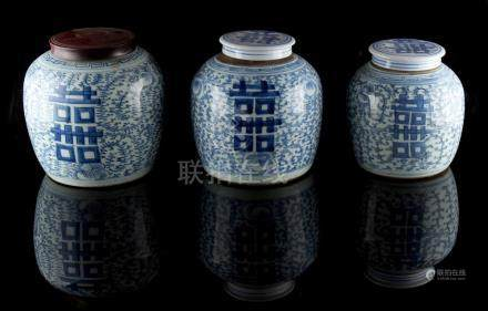 Property of a gentleman - a graduated set of three 19th century Chinese provincial blue & white