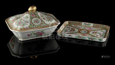 Property of a deceased estate - a 19th century Chinese Canton famille rose tureen, 9.65ins. (24.
