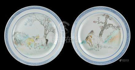 Property of a gentleman - a pair of Chinese blue & white & polychrome decorated porcelain plates,