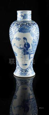 Property of a gentleman - a late 19th century Chinese blue & white baluster vase, painted with two