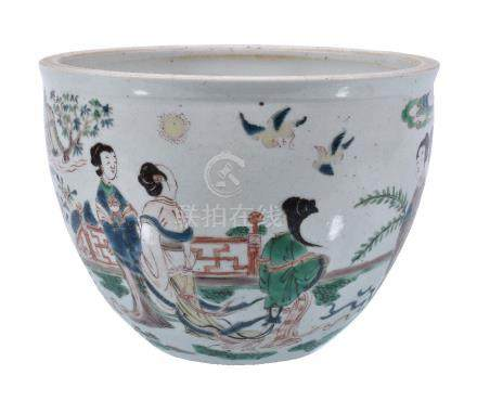 A Chinese Famille Verte fish bowl or jardinière