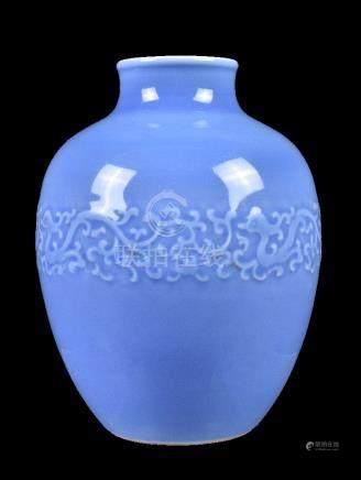 A Chinese clair-de-lune glazed oviform vase