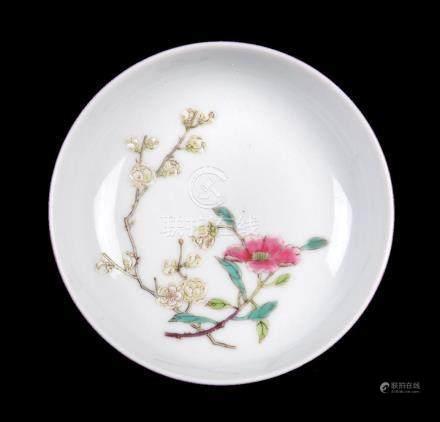 A small Chinese ruby ground 'prunus' dish