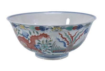 A Chinese Wucai 'Dragon and Phoenix' bowl