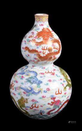 A Chinese famille-rose double gourd-form vase