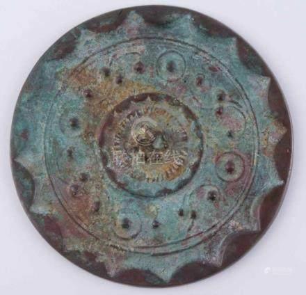 Bronzespiegel China Song DynastieØ 10,4 cm, H: 2 mmBronze mirror China Song dynastyØ 10,4 cm,