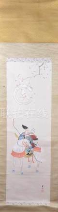 Rollbild Chinabemalt mit Samurai auf Pferd sitzend, mit Signaturstempel, Gesamtlänge: 189 cm, B: