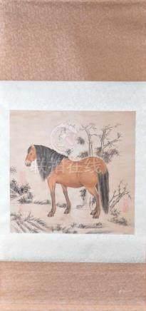 Rollbild China nach Song-Dynastybemalt mit Pferd, mit Sammler- und Signaturstempeln, Gesamtlänge: