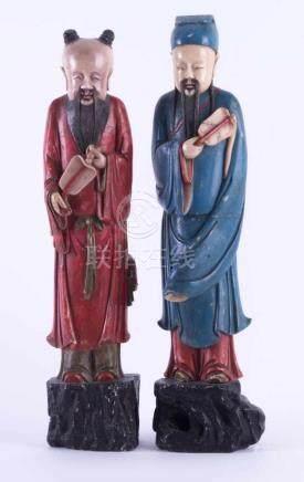 Paar Specksteinfiguren China 18./19. Jhd.die Unsterblichen Lu Dongbin und Zhongli Quan, farbig