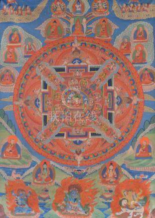 Thangka Mandala 19. Jhd.sehr fein bemalt, 86,5 cm x 60 cmThangka Mandala 19th centuryvery finely