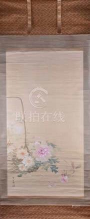 "Shunkyo YAMAMOTO (1871-1933)""Rosen""Malerei auf Seide, 243 cm x 98 cm, links unten"