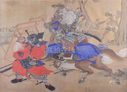 Huri, Daijiro Japan 18./19. Jhd.Seidenmalerei, Darstellung Zweier kämfender Shogun, im Hintergrund