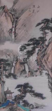 "Künstler China 19./20. Jhd.""Berglandschaft mit Wasserfall""Tuschmalerei auf Papier, Sichtmaß, 67 cm x"