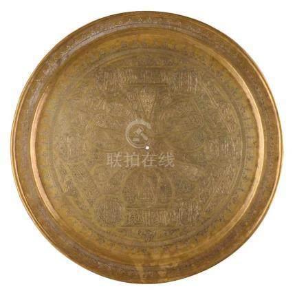 Messingplatte Persisch, Mameluk um 1900fein ziseliert, Ø 50 cmPersian brass plate, Mameluk around