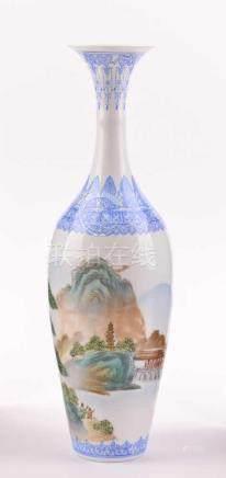 Vase China 19. / 20. Jhd.Eierschalenporzellan, unterm Stand blaue Siegelmarke, H:26 cmVase China