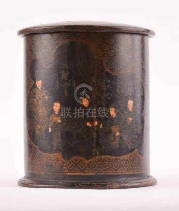 Lack-Deckeldose Japan, Meiji Periodebemalt, umlaufend mit figuralem - und archaischem Dekor, rund,