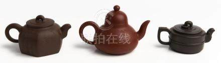 THREE CHINESE YIXING TEAPOTS, 'JADE', 'THREE LEGGED JADE FRA