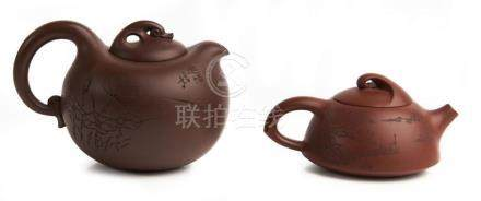 TWO GOOSE FORM YIXING TEAPOTS, 'GOOSE' AND 'UNTITLED' LIU JI