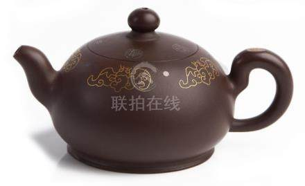 A CHINESE COMPRESSED INLAID YIXING ZISHA TEAPOT, 'FORTUNE LO
