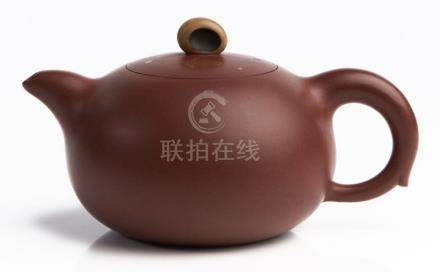 A CHINESE COMPRESSED INLAID YIXING TEAPOT, 'BLESSINGS IN FRO