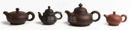 FOUR CHINESE YIXING TEAPOTS, 'ON THE UP AND UP', 'GOOD LUCK'