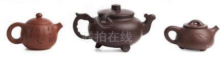 THREE CHINESE YIXING TEAPOTS, 'LISTENING TO SPRING', 'XISHI