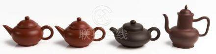 FOUR CHINESE YIXING TEAPOTS QING DYNASTY/20TH CENTURY