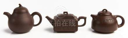THREE CHINESE YIXING ZISHA TEAPOTS QING DYNASTY/20TH CENTURY