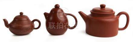 THREE CHINESE YIXING TEAPOTS QING DYNASTY TO REPUBLIC PERIOD
