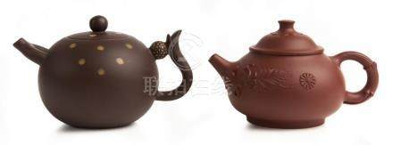 TWO CHINESE YIXING TEAPOTS, 'AS WISHED BY THE IMPERIAL CONCU