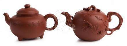 TWO CHINESE YIXING TEAPOTS, 'SQUIRREL GRAPES' AND 'RUYI THRE