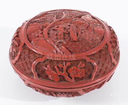A CHINESE CINNABAR LACQUER BOX LATE QING, 19TH CENTURY