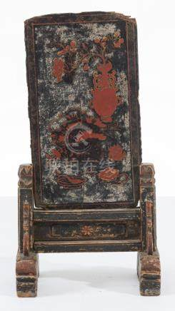 A CHINESE INSCRIBED LACQUERED WOOD TABLE SCREEN MING DYNASTY