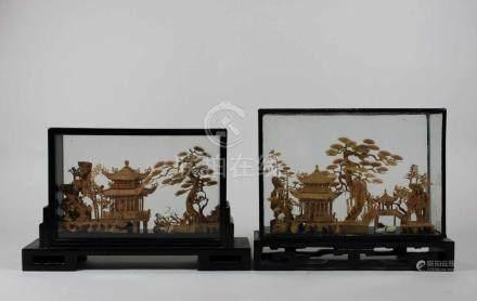 Paar Schnitzarbeiten, China 20. Jh., Kork, Landschaftsdarstellungen mit Pavillion und Kranichen,