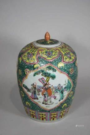 Deckeltopf, China 19. Jh., Famille jaune, Blumen- und Fruchtdekor, Medallions mit Vogel- und