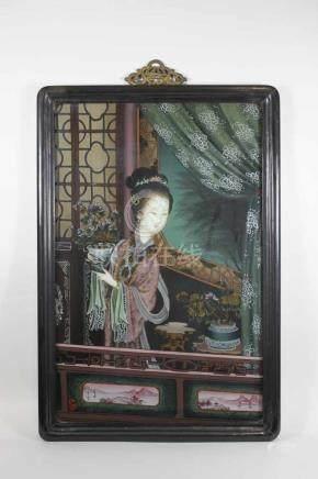 Hinterglasmalerei, Japan, Darstellung einer jungen Schönheit auf dem Balkon, sign., Lichtnaße: 47