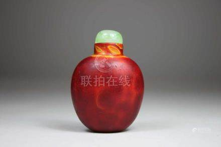 Snuff Bottle, China, Glas, Xiong-Huang Immitierung, H.: 6,1 cm, guter Zustand.